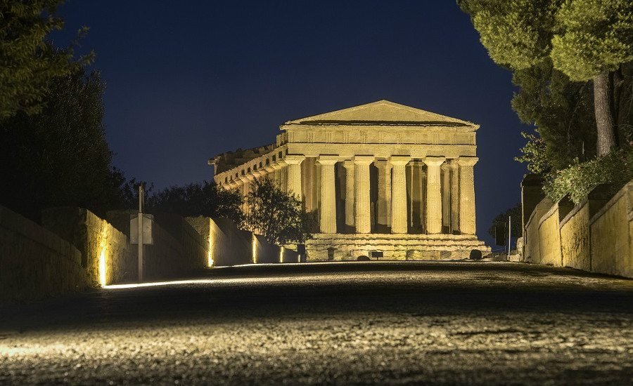 Temples In Agrigento Night