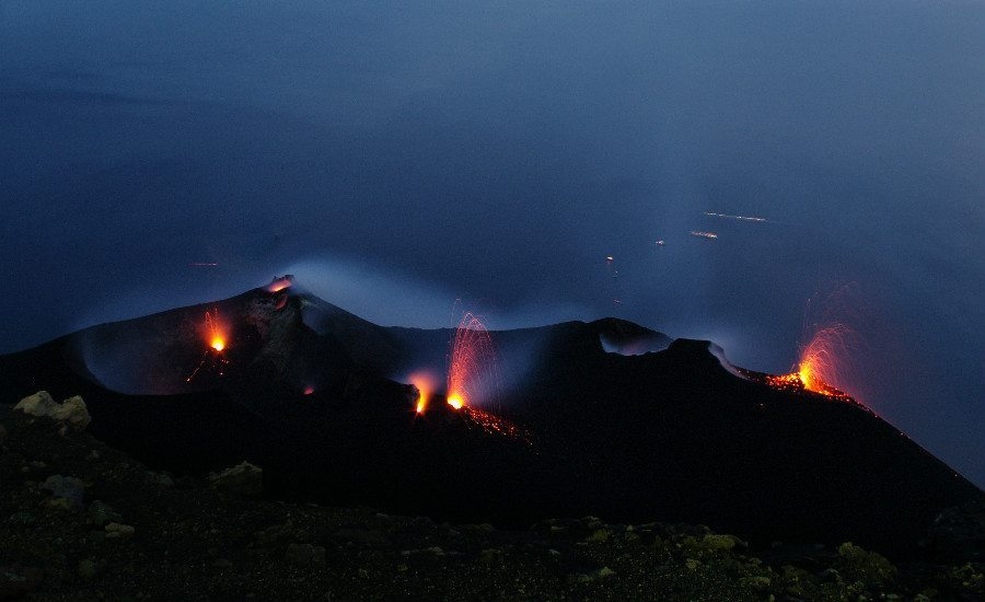 Stromboli Volcano in the night